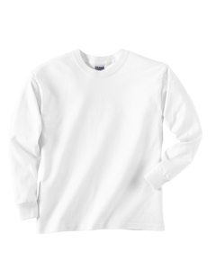 Youth 6.1 oz. Ultra Cotton� Long-Sleeve T-Shirt - 6.1 oz., 100% preshrunk cotton. Double-needle stitching throughout. Taped neck and shoulders. Ash is 99% cotton, 1% polyester; Sport Grey is 90% cotton, 10% polyester.