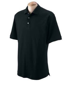 Men�s Solid Perfect Pima Interlock Polo - 100% long-staple Peruvian pima cotton, picked by hand and interlock knit for super smooth softness, style and comfort. Stretch tape in shoulders for extra strength; three-button placket with Dura-pearl� buttons; split tail with side vents.